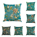 Set Of 6 Oil Paintings Oriental Cherry Flowers Bird Pillow Cover
