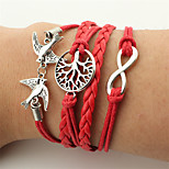 Men's Women's Wrap Bracelet Leather Bracelet Jewelry Fashion Vintage Bohemian Handmade Leather Alloy Infinity Bird Jewelry For Wedding