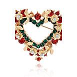Муж. Жен. Броши Синтетический алмаз Мода Chrismas Сплав В форме сердца Бижутерия Назначение Рождество