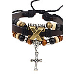 Men's Leather Bracelet Vintage Rock Leather Alloy Cross Geometric Jewelry For Casual Stage