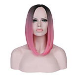 Women Short Black/Dark Green Black/Pink Straight Ombre Hair Natural Hairline Bob Haircut Synthetic Hair Capless Party Wig Halloween Wig