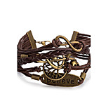 Men's Women's Leather Bracelet Wrap Bracelet Jewelry Friendship Multi Layer Punk Adjustable DIY PU Alloy Infinity Music Notes Jewelry For