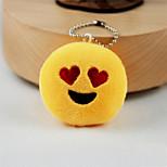 New Arrival Cute Emoji Heart Eyes Face Key Chain Plush Toy Gift Bag Pendant