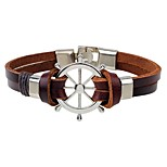 Men's Leather Bracelet Fashion Hip-Hop Leather Alloy Round Jewelry For Casual