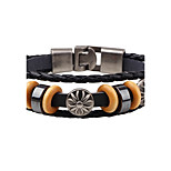 Men's Leather Bracelet Vintage Punk Leather Alloy Round Jewelry For Daily Casual