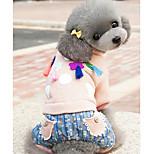 Собака Комбинезоны Одежда для собак На каждый день Геометрические линии Лиловый Желтый Розовый