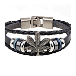 Men's Leather Bracelet Fashion Vintage Leather Alloy Leaf Jewelry For Casual Going out