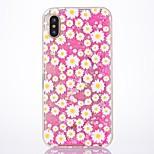Per iPhone X iPhone 8 Custodie cover Liquido a cascata Custodia posteriore Custodia Glitterato Fiore decorativo Resistente PC per Apple