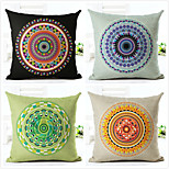 4 pcs Linen Pillow Case,Geometric Modern Modern/Contemporary