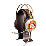 AX360Gold Headband Wired Headphones Dynamic Stainless Steel Plastic Gaming Earphone Dual Drivers Noise-isolating with Microphone with