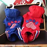 Собака Комбинезоны Одежда для собак На каждый день Животные Красный Синий