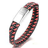Men's Boys' Bangles Bracelet Jewelry Fashion Simple Style Stainless Steel Leather Geometric Jewelry For Gift Daily
