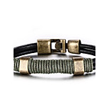 Men's Women's Leather Bracelet Hip-Hop Rock Leather Titanium Steel Line Jewelry For Party Birthday Gift Evening Party