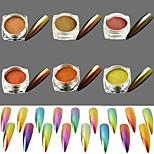 6Bottles Glitter Nail Decoration Powder Glisten Mirror Effect Shining Holographic Pigment Magic Chameleon Shimmer DIY