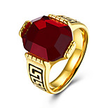 Men's Band Rings Synthetic Ruby Fashion Stainless Steel Round Jewelry For Party Daily