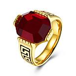 Муж. Классические кольца Синтетический рубин Мода Нержавеющая сталь Круглой формы Бижутерия Назначение Для вечеринок Повседневные