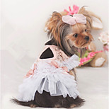 Dog Dress Dog Clothes Casual/Daily Princess Blushing Pink White