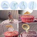 4 PCS/Set Toiletries Theme (Crown,Perfume,Mirror,Lipstick) Plastic Cake Cookie Plunger Cutters Fondant Molds