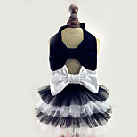 Dog Dress Dog Clothes Wedding Bowknot Fuchsia White/Black