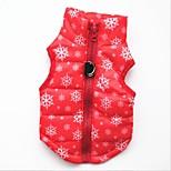 Кошка Собака Жилет Одежда для собак На каждый день Сохраняет тепло Рождество В снежинку Черный Красный
