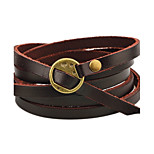 Men's Women's Leather Bracelet Personalized Simple Style Leather Round Jewelry For Casual Stage