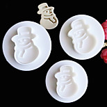 3PCS/Set Christmas Snowman Jingle Bell Decor Cake Plunger Mold Fondant Pastry