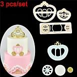 3PCS Pumpkin Princess Carriage Shaped Plastic Cake Mold Fondant Tools