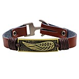 Men's Leather Bracelet Fashion Vintage Leather Alloy Round Wings / Feather Jewelry For Casual Going out