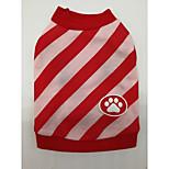 Собака Футболка Одежда для собак Рождество Полоски Красный Синий