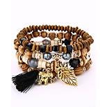 Men's Women's Strand Bracelet Wrap Bracelet Fashion DIY Wood Alloy Irregular Jewelry For Evening Party Stage