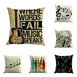 Set Of 6 Retro Music Note Pillow Cover High Quality Square Pillow Case Cotton/Linen Cushion Cover