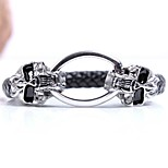 Men's Leather Bracelet Punk Hip-Hop Leather Alloy Skull Jewelry For Halloween Street