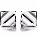 Men's Women's Stud Earrings Jewelry Basic Simple Style Sterling Silver Square Jewelry For Gift Daily