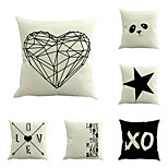 Set Of 6 Creative English Letters Geometry Printing Square Heart Pattern Pillow Case