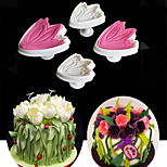 4PCS/Set Tulip Flower Petal Sugarcraft Fondant Cake Mold