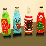 4PCChristmas Type Beer Bottle Cover Christmas Gift Bag Crafts Wine Bottle Cover Dinner Party Table Decor Festive New Year Supplies
