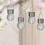 4PCS Solar LED Stainless Steel Crackle Glass Hanging Light Pathway Garden Lamp