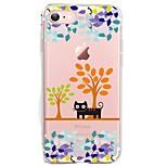 Per iPhone X iPhone 8 Custodie cover Ultra sottile Transparente Fantasia/disegno Custodia posteriore Custodia Gatto Albero Morbido TPU per