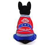 Собака Комбинезоны Одежда для собак На каждый день Буквы и цифры Темно-синий Желтый Красный