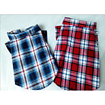 Dog Shirt / T-Shirt Dog Clothes Casual/Daily Plaid/Check Blue Red