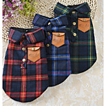 Dog Vest Dog Clothes Casual/Daily Plaid/Check Red Green Blue Costume For Pets