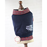 Dog Sweatshirt Dog Clothes Cotton Spring/Fall Winter British Plaid/Check Dark Blue Gray For Pets