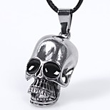 Men's Choker Necklaces Pendant Necklaces Skull Leather Titanium Steel Fashion Rock Jewelry For Casual Going out