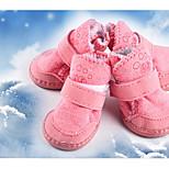 Собака Ботинки и сапоги Сохраняет тепло Сплошной цвет Коричневый Розовый