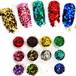 12 couleurs / set Noël mélange 1mm&3mm coloré nail art paillettes poudre hexagonale paillettes xmas brillant poudre tranche paillette