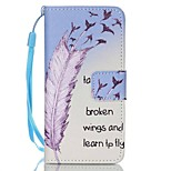 Case For Apple Ipod Touch5 / 6 Case Cover Card Holder Wallet with Stand Flip Pattern Full Body Case Feathers Hard PU Leather