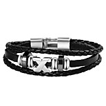 Men's Women's Wrap Bracelet Hip-Hop Personalized Stainless Steel Leather Jewelry For Party Evening Party