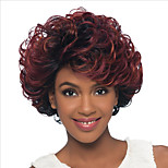 Women Synthetic Wig Capless Short Kinky Curly Black/Red Ombre Hair Natural Wigs Costume Wig