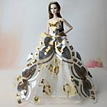 Dresses Dresses For Barbie Doll Golden Dresses For Girl's Doll Toy