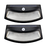 2PCS Solar Power Light Motion Detection 8 LED Waterproof Outdoor Smiling Wall Lights Wireless Security Step Night Lamps -Black